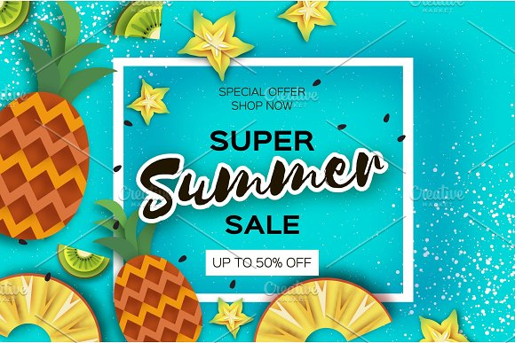 Pineappple Carambola Kiwi Ananas And Starfruit Super Summer Sale Banner In Paper Cut Style Origami Juicy Ripe Slices Healthy Food On Blue Square Frame For Text Summertime