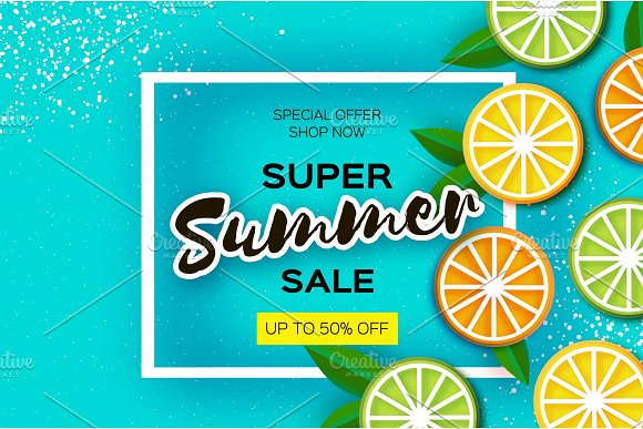 Lemon Lime Orange Citrus Super Summer Sale Banner In Paper Cut Style Origami Juicy Ripe Slices Healthy Food On Blue Square Frame For Text Summertime