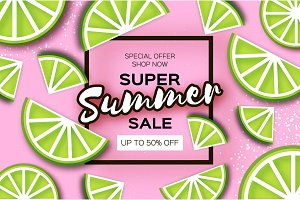 Lime Super Summer Sale Banner in paper cut style. Origami juicy ripe lime citrus slices. Healthy food on pink. Square frame for text. Summertime.