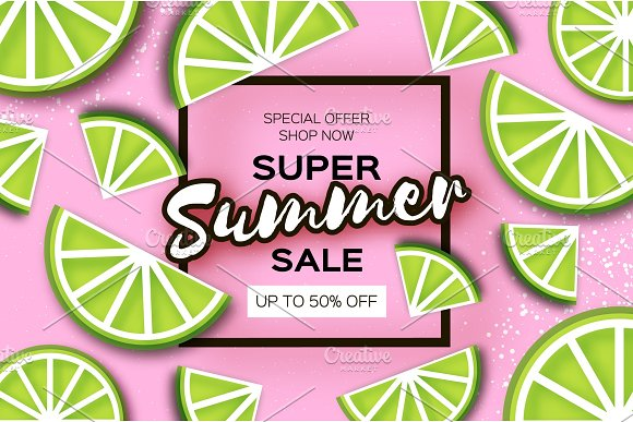 Lime Super Summer Sale Banner In Paper Cut Style Origami Juicy Ripe Lime Citrus Slices Healthy Food On Pink Square Frame For Text Summertime