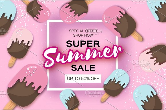 Super Summer Sale With Ice-creams In Paper Cut Style Origami Melting Ice Cream On Pink Space For Text Square Frame Hot Summertime Holidays