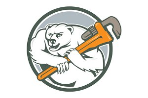 Polar Bear Plumber Monkey Wrench Cir