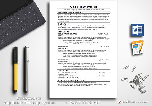 resume template pages word resume templates creative market