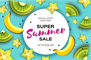 Slice of kiwi and carambola. Banana Super Summer Sale Banner in paper cut style. Origami juicy ripe green yellow slices. Healthy food on blue. Circle frame for text. Summertime.