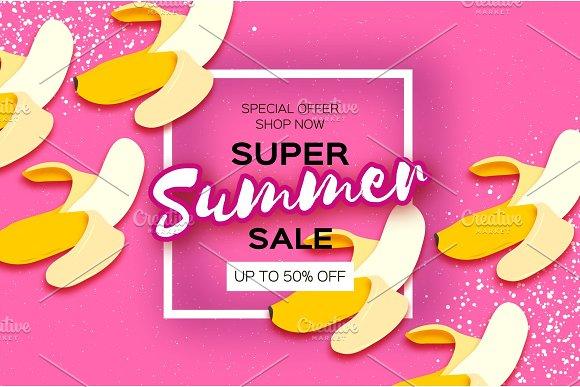 Banana Super Summer Sale Banner In Paper Cut Style Origami Pen Fruit Healthy Fresh Food On Pink Square Frame For Text Summertime
