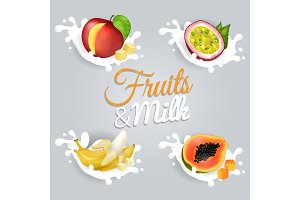 Fruits and Milk Vector Illustrations Set