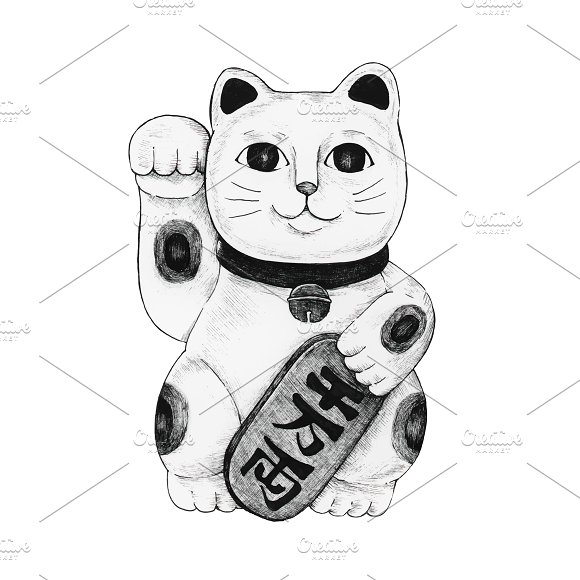 Hand Drawn Maneki Neko Figurine