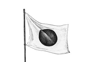 Hand drawn Japanese flag with pole