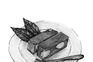 Hand drawn mizu yokan Japanese sweet