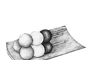 Hand drawn Dango Japanese dumpling