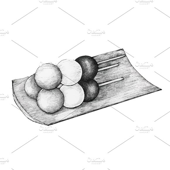 Hand Drawn Dango Japanese Dumpling