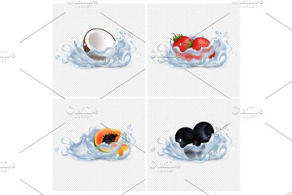 Coconut Strawberry Papaya Blackberry In Water