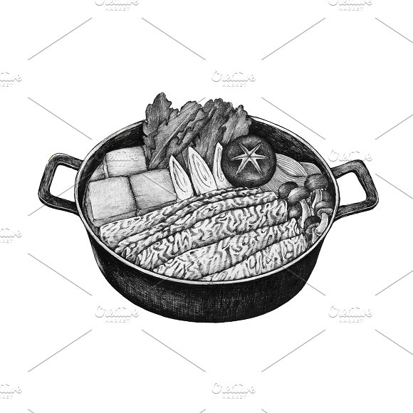 Hand Drawn Sukiyaki Japanese Dish