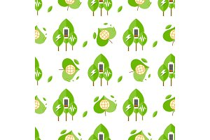 Seamless Pattern with Trees, Battery Signs, Globe