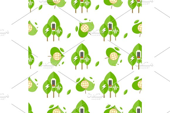 Seamless Pattern With Trees Battery Signs Globe