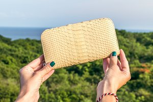 Woman hand holding luxury snakeskin python wallet on a tropical green background.