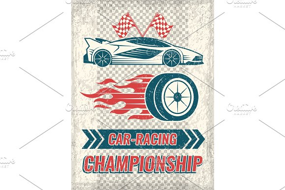 Vintage Poster With Racing Cars Vector Template With Place For Your Text