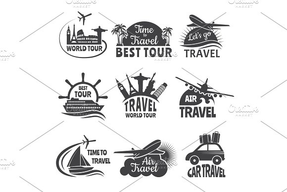 Travel Labels Set With Illustrations Of Airplane