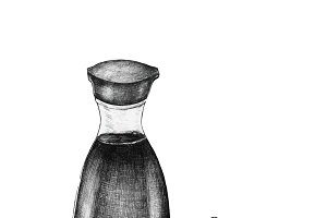 Hand drawn shoyu Japanese soy sauce