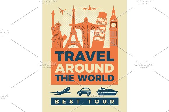 Travel Poster With Illustrations Of Famous Landmarks