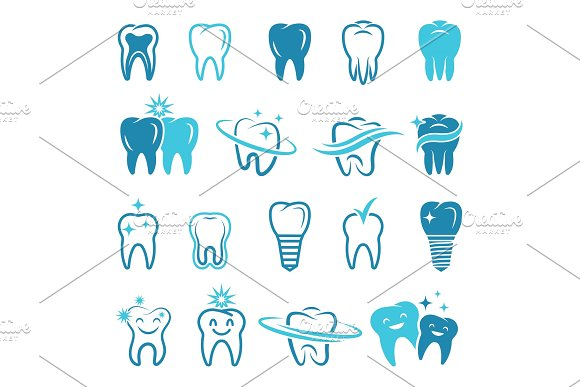 Stylized Monochrome Pictures Of Teeth Dental Concept Illustrations For Logos