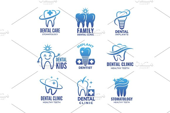 Logotypes With Illustrations Of Teeth And Place For Your Text