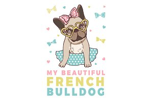 Retro poster with illustrations of funny french bulldog
