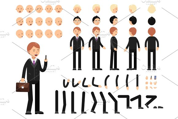 Key Frames Of Business Characters Creation Mascot Kit Vector Constructor
