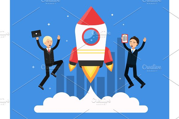 Concept Picture With Symbols Of Startup Rocket And Happy Businessmen