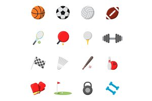 Sports icons set. Vector pictures in flat style