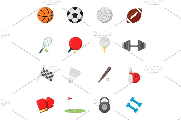 Sports Icons Set Vector Pictures In Flat Style