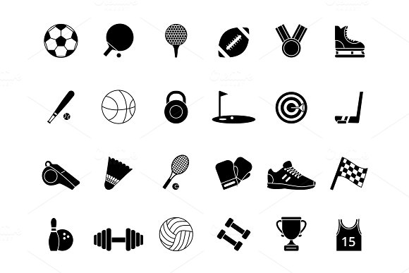 Monochrome Black Sport Symbols Vector Pictures Set