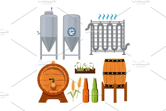 Set Icons Of Brew Beer Production