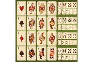 Big vector set of playing cards with stylized characters