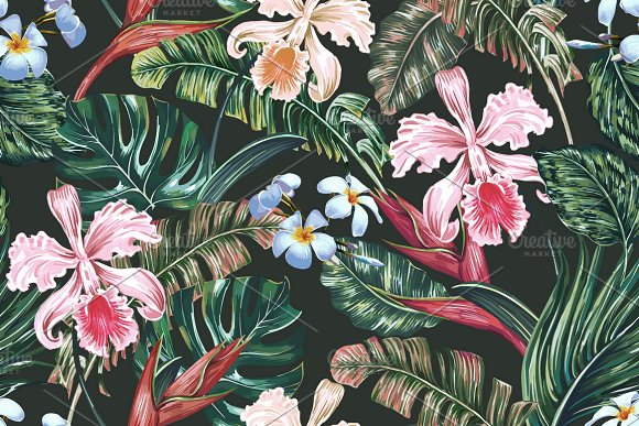 Tropical Leaves Flowers Pattern