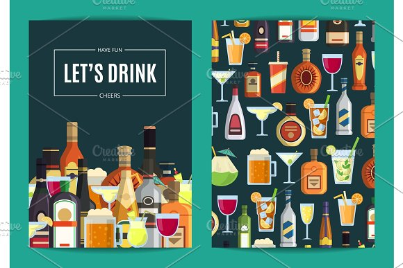 Vector Card Flyer Or Brochure Template For Bar Pub Or Liquor Store With Alcoholic Drinks In Glasses And Bottles