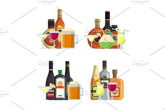 Vector Piles Of Alcoholic Drinks In Glasses And Bottles In Flat Style Set