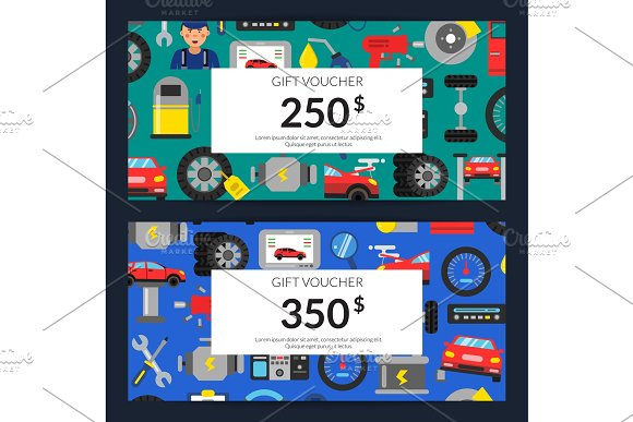 Vector Gift Voucher Or Discount Card Template With Flat Style Car Service Elements