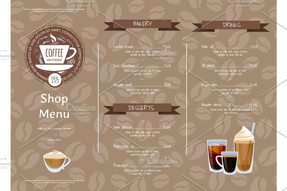 Vector Coffee Shop Horizontal Menu Template
