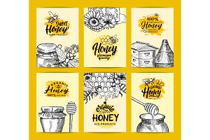 Vector card templates set for honey shop or farm with sketched contoured honey theme elements and hand drawn logos