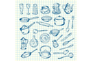 Vector set of kitchen utensils on cell sheet illustration