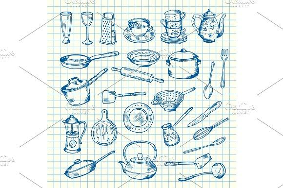 Vector Set Of Kitchen Utensils On Cell Sheet Illustration