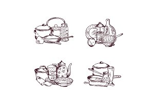 Vector piles of hand drawn kitchen utensils set