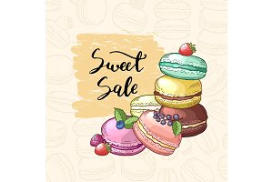 Vector sale background with colored hand drawn macaroons for pastry shop