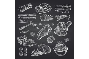 Vector hand drawn monochrome meat elements on black chalkboard