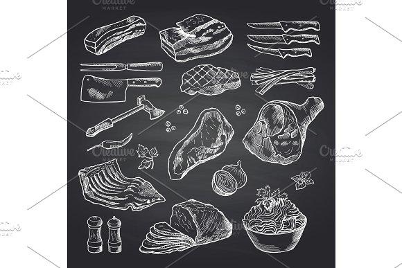 Vector Hand Drawn Monochrome Meat Elements On Black Chalkboard