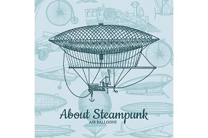 Vector background with steampunk hand drawn airships, air baloons, bicycles and cars with place for text