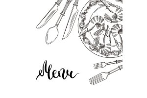 Vector background with hand drawn tableware elements in upper right corner with place for text