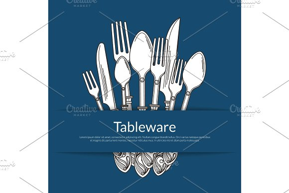 Vector Background With Pile Of Hand Drawn Tableware In Paper Pocket With Place For Text