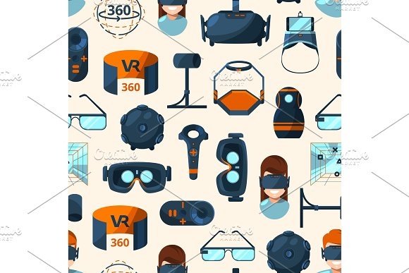 Vector Pattern Or Background Illustration With Flat Style Virtual Reality Elements